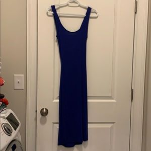 Royal blue twist back with cut out dress